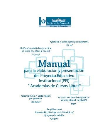 Manual para elaborar PEI Academias - Ministerio de Educación ...