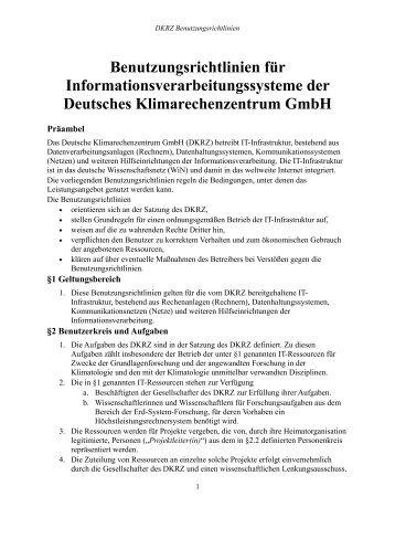 DKRZ: Benutzungsrichtlinien