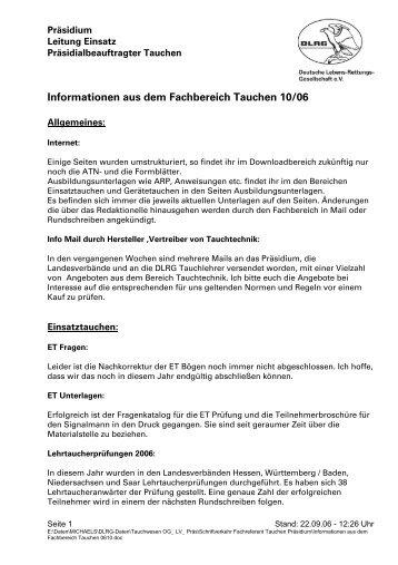 Informationen aus dem Fachbereich 06/10 - DLRG