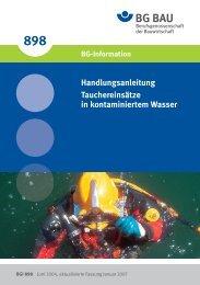 BGI 898 Tauchereinsätze in kontaminiertem Wasser - DLRG