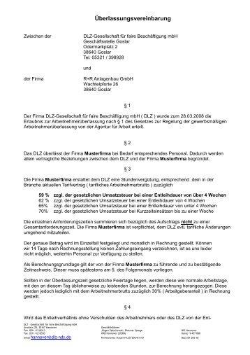 Finden Sie Unseren Vertragsentwurf Dlz Goslar