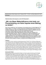 Wir von Bayer Materialscience sind stolz, zur Pionierleistung von ...