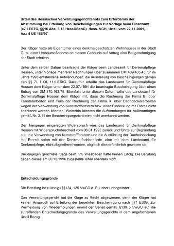 Urteil des Hessischen Verwaltungsgerichtshofs zum Erfordernis der ...