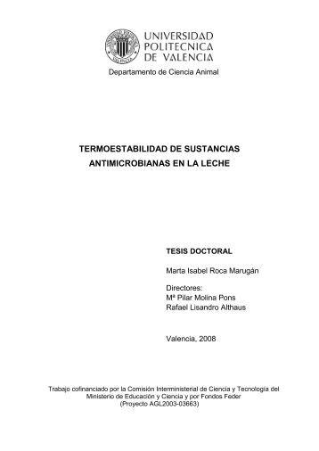 termoestabilidad de sustancias antimicrobianas en la leche - RiuNet