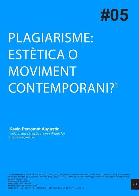 PLAGIARISME: ESTÈTICA O MOVIMENT CONTEMPORANI?1 - 452ºF