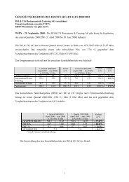 geschäftsergebnis des ersten quartales 2000/2001 - Do & Co