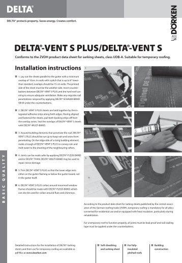 DELTA®-VENT S PLUS/DELTA®-VENT S Installation instructions ...