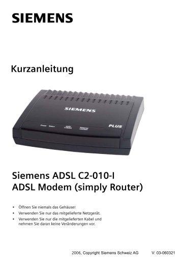 Siemens ADSL C2-010-I ADSL Modem - Router-FAQ.de