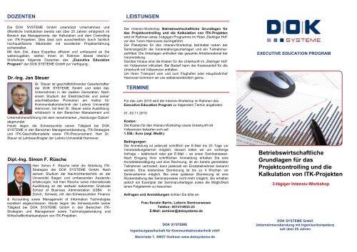 Betriebswirtschaftliche Grundlagen für das ... - DOK Systeme