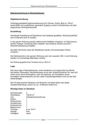 Eigentumswohnung in Reichartshausen - Dollinger GmbH