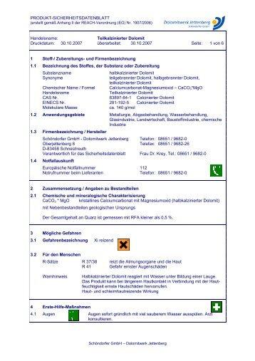 Teilkalzinierter Dolomit Druckdatum: 30.10.2007 ... - Dolomitwerk