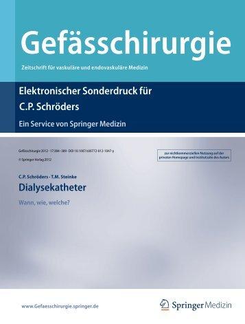 Elektronischer Sonderdruck für Dialysekatheter C.P. Schröders