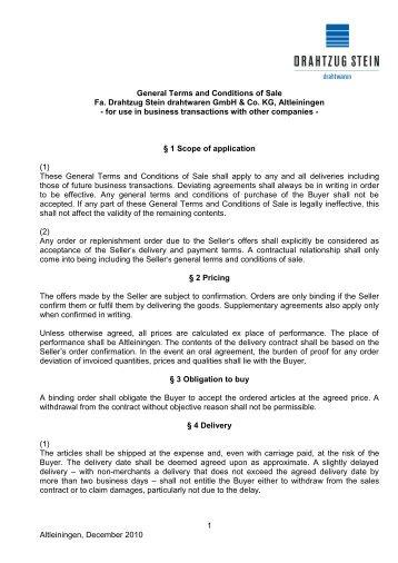 Conditions of Sale DRAHTZUG STEIN drahtwaren