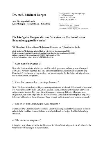 Download PDF mit allen Fragen und Antworten - Dr. med. Burger