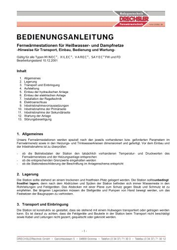 Fernwärmestationen für Heißwasser- und Dampfnetze - Dretec.de