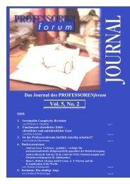 Vol. 1, No. 1 Vol. 5, No. 2 - Professorenforum