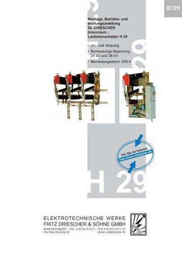 Bedienungsanleitung - Elektrotechnische Werke Fritz Driescher ...