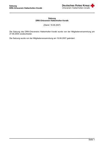 Satzung DRK Ortsverein Hattenhofen-Voralb - DRK Hattenhofen