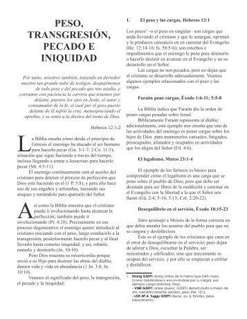 peso, transgresión, pecado e iniquidad - Ministerios Ebenezer - Villa ...