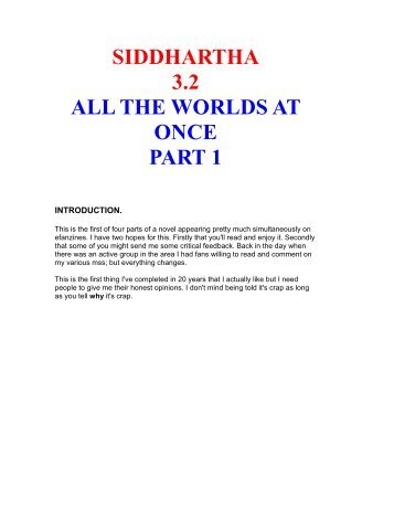 siddhartha 3.2 all the worlds at once part 1 - eFanzines main page
