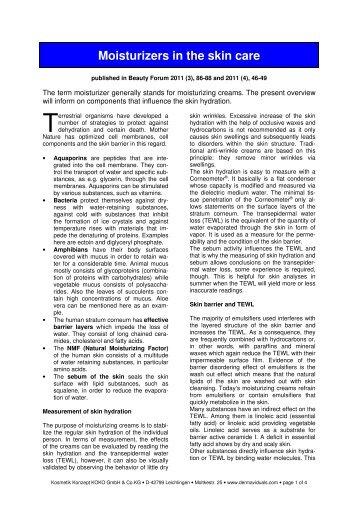 Moisturizers in the skin care - Dermaviduals