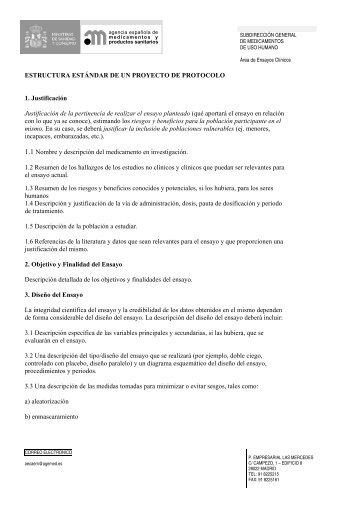 Estructura del proyecto de ensayo clínico para el - Agencia ...