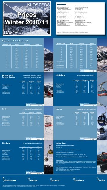 Prices Winter 2010/11 - Davos