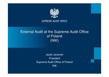 External Audit at the Supreme Audit Office of Poland (NIK)