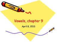 Vowels, chapter 9 - Department of Linguistics and English Language