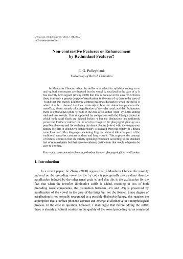 Non-contrastive Features or Enhancement by ... - Academia Sinica