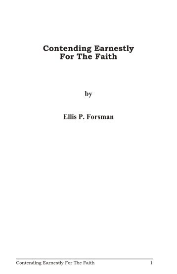 Contending Earnestly For The Faith - Churches of Christ - One Cup ...