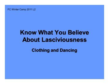 Know What You Believe About Lasciviousness - Godly Youth