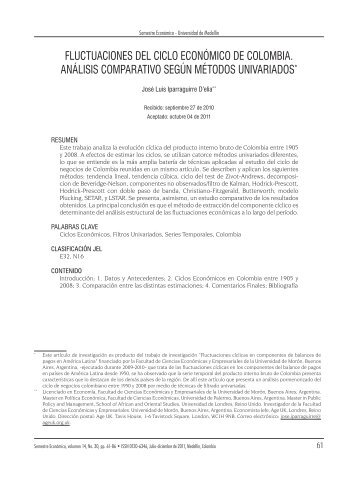 fluctuaciones del ciclo económico de colombia. análisis comparativo ...