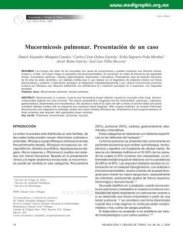 Mucormicosis pulmonar. Presentación de un caso - edigraphic.com