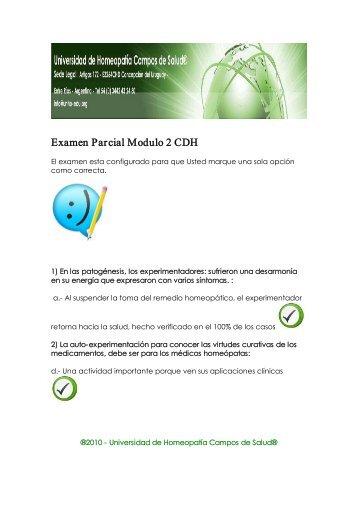 Examen Parcial Modulo 2 CDH - Universidad de Homeopatía ...