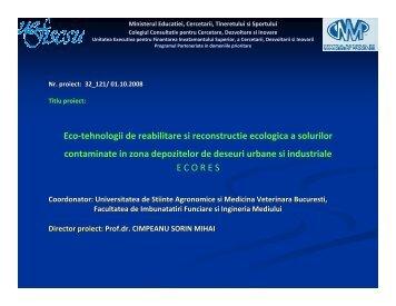 Eco-tehnologii de reabilitare si reconstructie ecologica a ... - CNMP