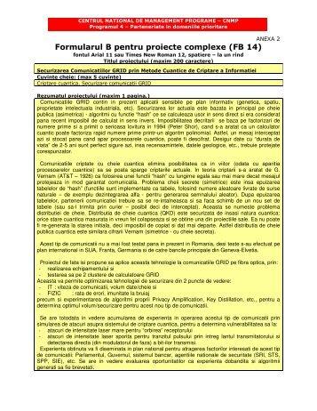 Formularul B pentru proiecte complexe (FB 14) - theory