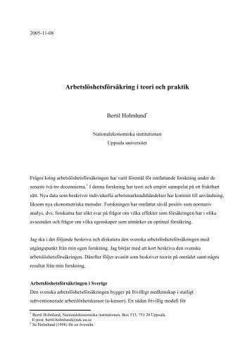 Bertil Holmlund - Uppsala universitet