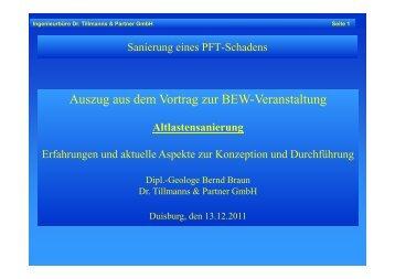 Ergänzung zur Sanierung einer PFT-Verunreinigung - Dr. Tillmanns ...