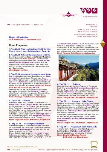 Nepal - Rundreise Unser Programm: - DSReisen - Koeln