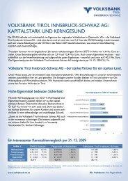 VOLKSBANK TIROL INNSBRUCK-SCHWAZ AG: KAPITALSTARK ...