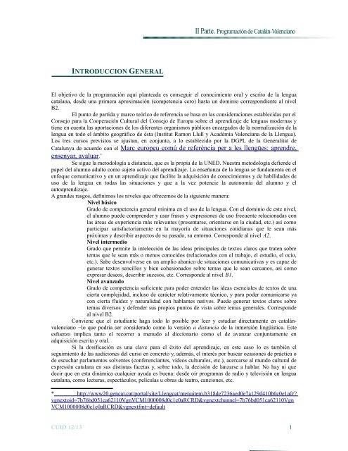 Ii Parte Programación De Catalán Valenciano Cuid Uned