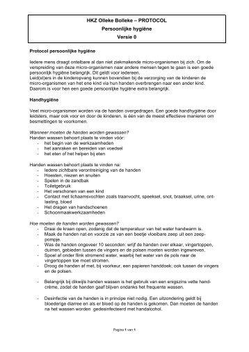 Protocol hygiëne persoonlijk - Olleke Bolleke