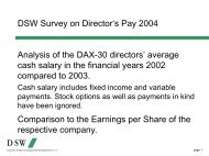 DSW Survey on Director's Pay 2004 Analysis of the DAX-30 ...