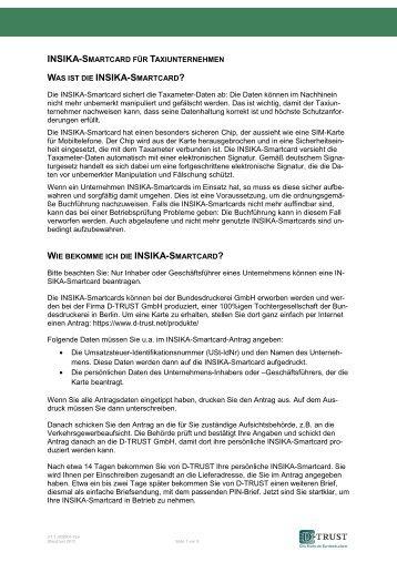 Wichtige Informationen zur INSIKA-Smartcard INSIKA ... - D-Trust