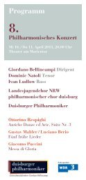 Programmheft - Die Duisburger Philharmoniker