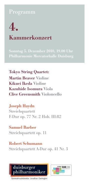 Programm Kammerkonzert - Die Duisburger Philharmoniker