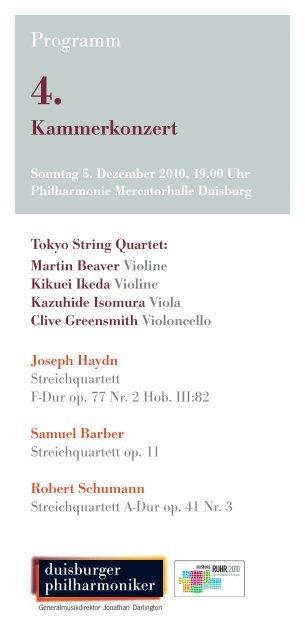 4. Kammerkonzert - Die Duisburger Philharmoniker