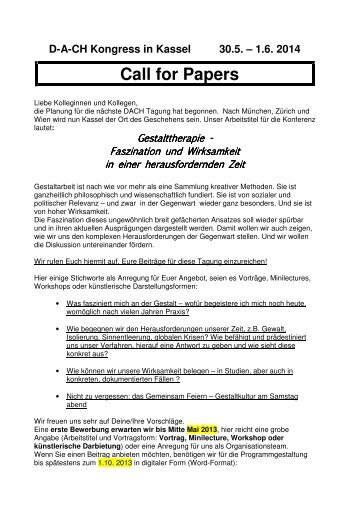 Call for Papers - DACH Tagung 2014 - DVG
