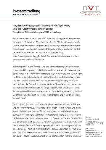 Pressemitteilung zum Download - Deutscher Verband Tiernahrung eV